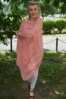 Esarfa fashion din tesatura fina de nuanta portocalie cu imprimeu