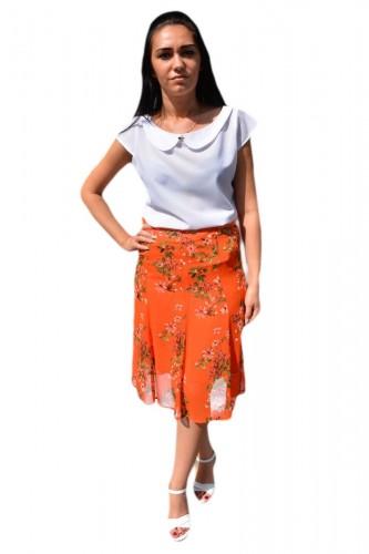 Poze Fusta lejera, midi, nuanta de portocaliu, cu imprimeu floral multicolor