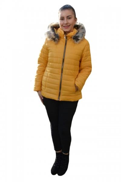 Poze Jacheta calduroasa de toamna-iarna ,guler fronsat si gluga detasabila,nuanta de galben
