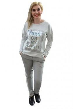 Poze Pantalon chic de culoare gri deschis, design de dunga pe lateral