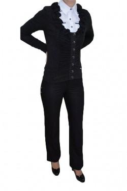 Poze Pantalon cu buzunare apretate, nuanta de negru, fermoar