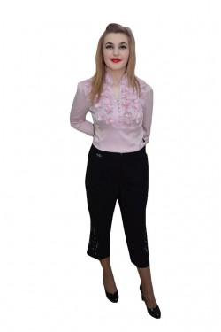 Poze Pantalon de zi, nuanta de negru, detalii fine in partea de jos