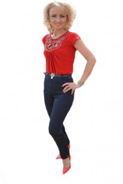 Poze Pantalon modern, bleumarin, cu model colorat pe buzunare