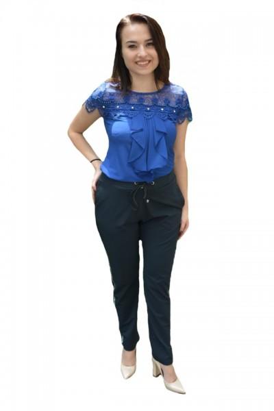 Poze Pantaloni eleganti Tessa cu aplicatii de strasuri,nuanat de bleumarin