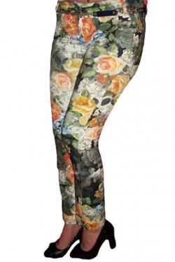 Poze Pantaloni skinny, tineresti, cu imprimeu colorat cu flori