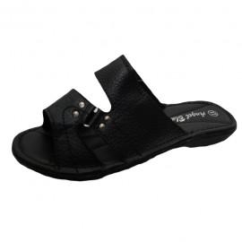 Poze Papuci comozi, din piele, de culoare neagra, cu talpa plata, flexibila