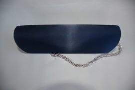 Poseta bleumarin de ocazie, gen plic, realizata din saten lucios