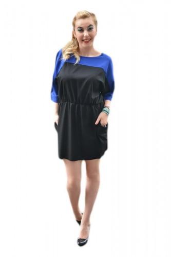 Rochie casual, bicolora albastru-negru, decoltata rotund