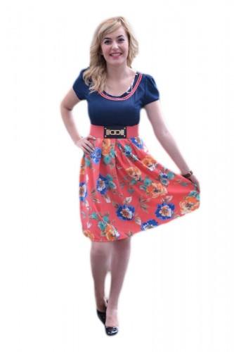Poze Rochie casual, bleumarin-corai, cu imprimeu floral si insertie de dantela