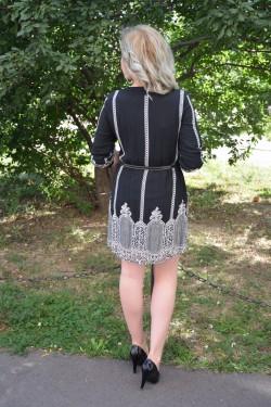 Rochie casual, din voal plisat, cu maneci trei-sferturi, negru-alb
