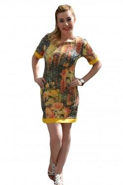 Rochie casual, feminina, imprimeu floral, galben pe fond gri-verzui