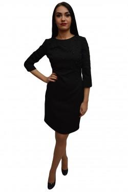 Poze Rochie chic de toamna-iarna, nuanta de negru, cu design de perle