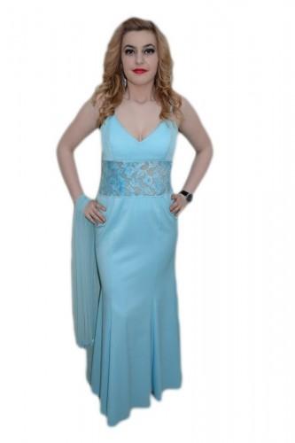 Poze Rochie cu design de dantela aplicata, nuanta de albastru