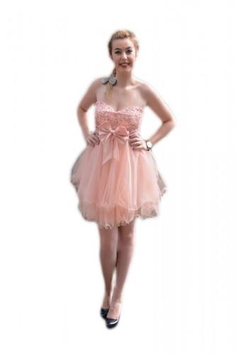 Poze Rochie de gala scurta de culoare roz, cu model de paiete sus