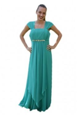 Poze Rochie de nunta, deosebita, design simplu si elegant, culoare turcoaz