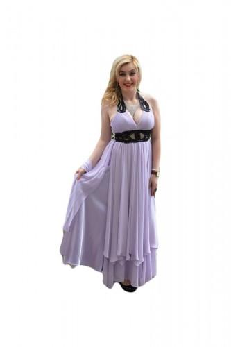 Rochie de seara lunga, eleganta, din voal, vaporoasa, pe culoare mov