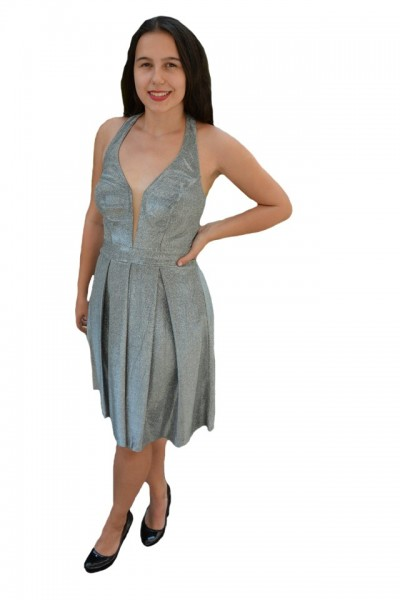 Poze Rochie eleganta Ermine, textura cu fir de lurex ,nuanta de argintiu