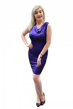 Poze Rochie fashion din material lucios mov, model scurt de ocazie