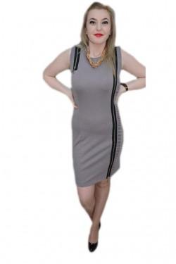 Rochie fashion, nuanta de gri, inchidere cu fermoar, material cret