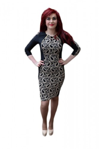 Poze Rochie fashion, nuanta de negru-auriu, imprimeu chic fin