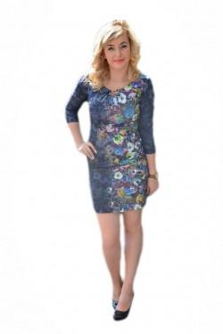 Poze Rochie feminina ,bleumarin cu flori de camp