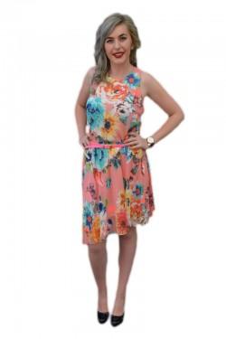 Poze Rochie feminina ,din voal, colorata si croi asimetric