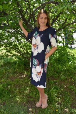 Rochie lejera de primavara-vara, multicolora cu imprimeu floral