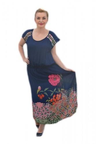 Rochie lejera de vara, masura mare, material vaporos bleumarin
