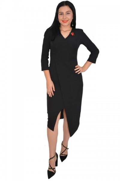 Poze Rochie rafinata Mila cu crepeu in fata,model asimetric,nuanta de negru