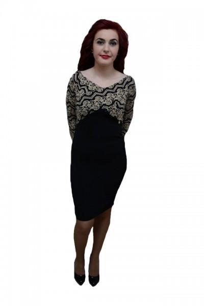 Rochie tinereasca, de culoare neagra, imprimeu abstract