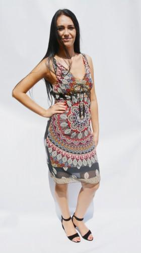 Rochie vaporoasa de vara cu decolteu in V, imprimeu multicolor