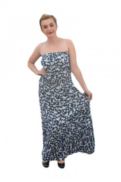 Poze Rochie vaporoasa de vara, model lung, culoare bleumarin cu alb