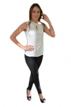 Poze Top tineresc in nuanta de alb cu design de perle si strasuri