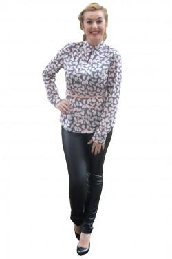 Poze Bluza casual de culoare roz-gri cu maneca lunga si fronseuri in fata