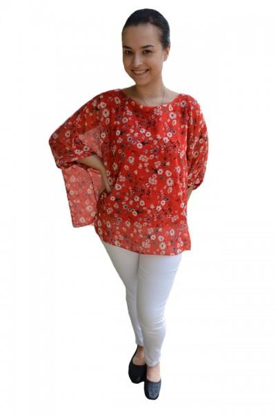 Poze Bluza casual Vivien cu imprimeu camp flower pe fond rosu
