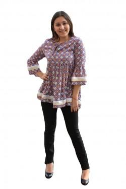 Poze Bluza chic cu croi lejer, de primavara-vara, cu imprimeu multicolor