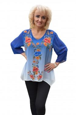 Poze Bluza chic cu imprimeu floral aplicat pe un fond albastru