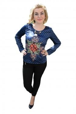 Poze Bluza de culoare bleumarin din material cu model si aspect satinat