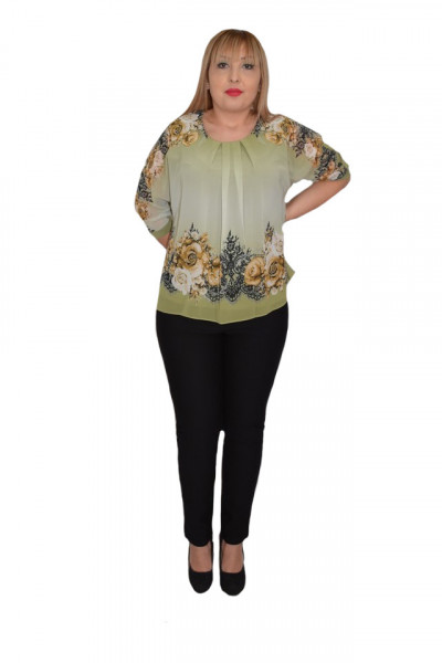 Poze Bluza de ocazie din material tip voal ,verde cu imprimeu floral