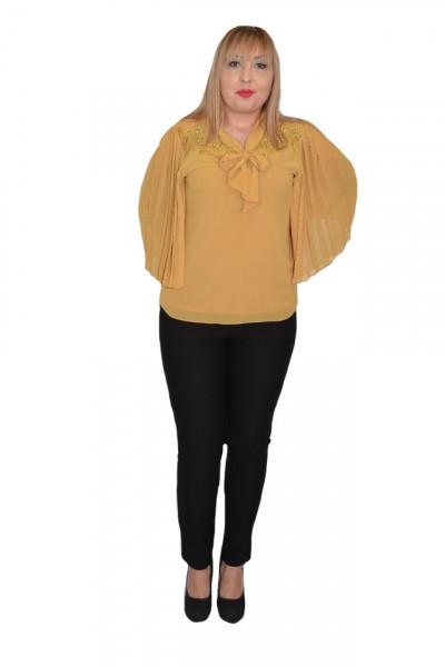 Poze Bluza eleganta Genna din voal cu insertii fine de margele si broderie,mustar