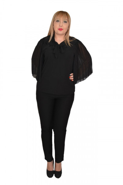 Poze Bluza eleganta Genna din voal cu insertii fine de margele si broderie,negru