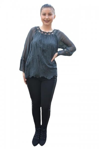 Poze Bluza eleganta Medelyn cu insertii de broderie florala,nuanta de gri inchis