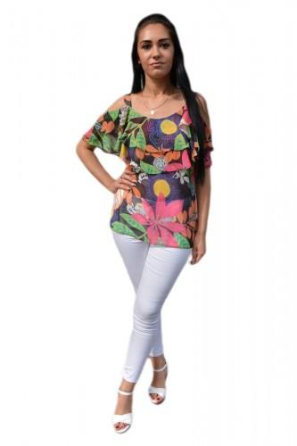 Poze Bluza eleganta, nuanta multicolora cu decupaje pe umeri