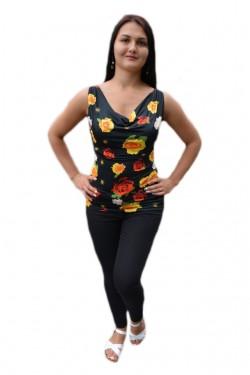 Poze Bluza lejera de culoare neagra cu design de flori viu colorate