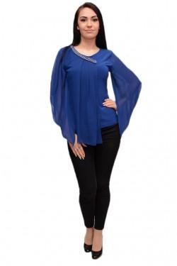 Poze Bluza moderna cu maneci largi si insertii de voal, nuanta albastra