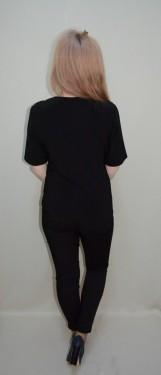 Bluza rafinata de ocazie, de nuanta neagra, cu guler tip sal bicolor