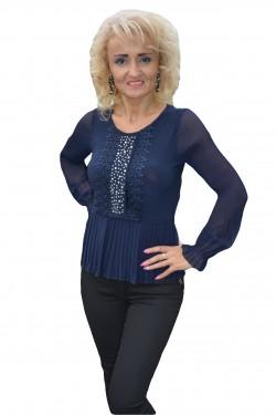 Poze Bluza trendy cu strasuri si pliseuri mici, de nuanta bleumarin