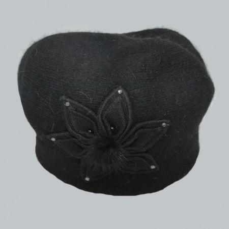 Poze Caciula Swella cu floare aplicata,neagra