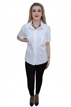 Camasa cu maneca scurta, nuanta de alb, guler modern