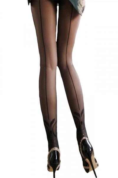 Ciorap pantalon cu model deasupra calcaiului, de culoare neagra